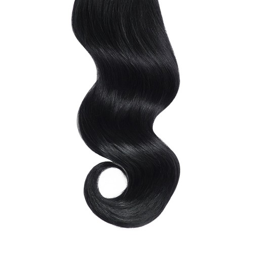 "16"" Jet Black(#1) 7pcs Clip In Human Hair Extensions"