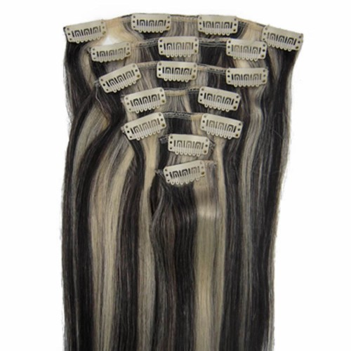 "24"" #1b/613 7pcs Clip In Human Hair Extensions"