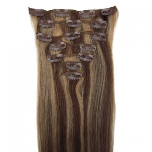 """14"""" Brown/Blonde(#4/27) 7pcs Clip In Human Hair Extensions"""
