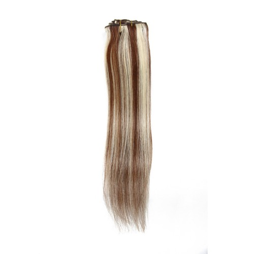 """16"""" #4/613 7pcs Clip In Human Hair Extensions"""