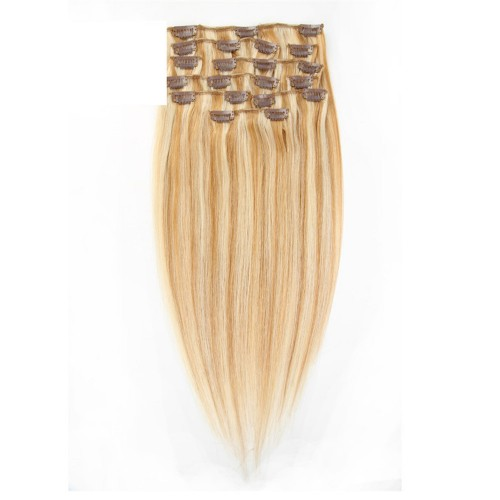 "24"" Blonde Highlight(#27/613) 7pcs Clip In Human Hair Extensions"