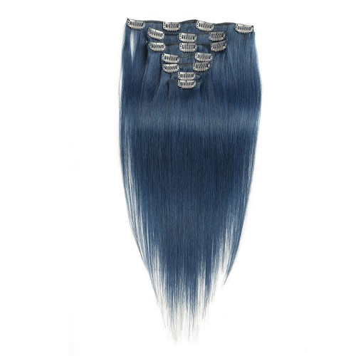 "24"" Blue 7pcs Clip In Human Hair Extensions"