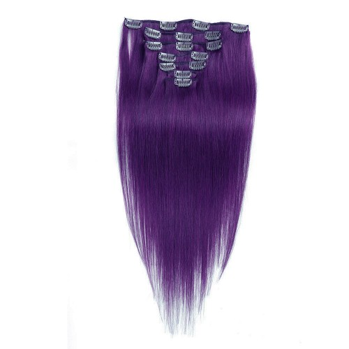 "14"" Lila 7pcs Clip In Human Hair Extensions"
