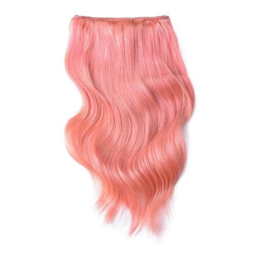 "22"" Pink 7pcs Clip In Human Hair Extensions"