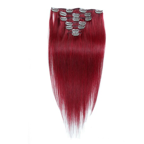 """18"""" Red 7pcs Clip In Remy Human Hair Extensions"""