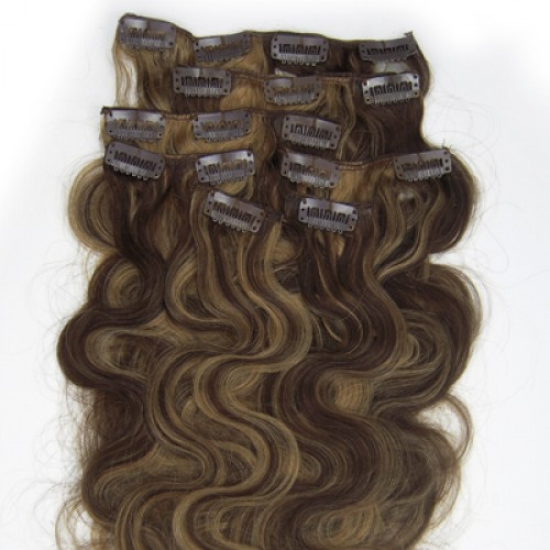 "18"" Brown/Blonde(#4/27) 7pcs Clip In Remy Human Hair Extensions"