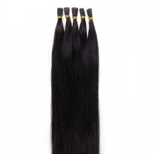 "18"" Jet Black(#1) 100S Stick Tip Remy Human Hair Extensions"