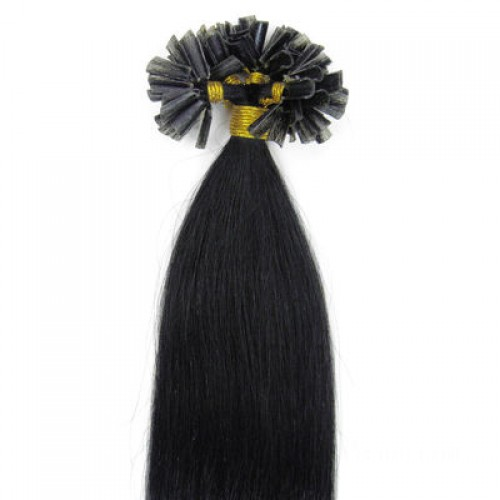 "24"" Jet Black(#1) 100S Nail Tip Remy Human Hair Extensions"