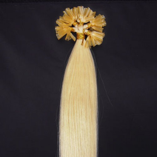 "22"" White Blonde(#60) 100S Nail Tip Remy Human Hair Extensions"