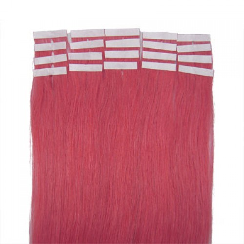"""18"""" Pink 20pcs Tape In Human Hair Extensions"""