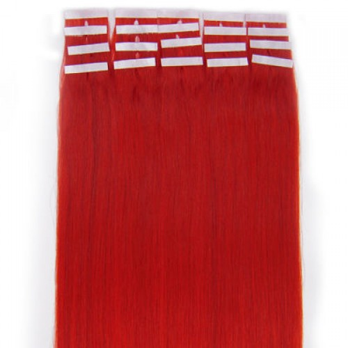 """16"""" Red 20pcs Tape In Human Hair Extensions"""