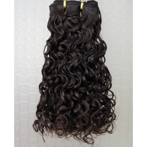 "14"" Dark Brown(#2) Curly Indian Remy Hair Wefts"