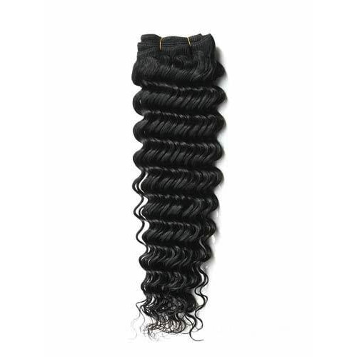 "12"" Jet Black(#1) Deep Wave Indian Remy Hair Wefts"