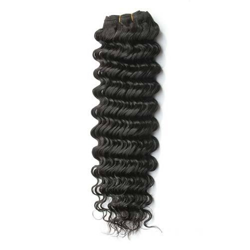 """18"""" Natural Black(#1b) Deep Wave Indian Remy Hair Wefts"""