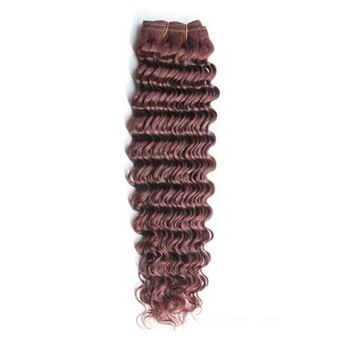 "10"" Dark Auburn(#33) Deep Wave Indian Remy Hair Wefts"