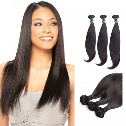 12/14/16 Inches Straight Natural Black Virgin Brazilian Hair