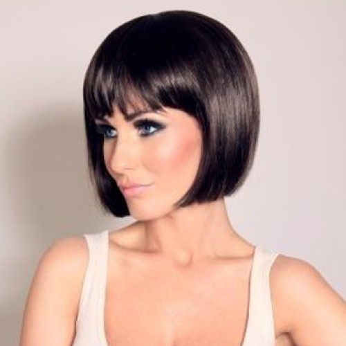 Human Hair Lace Front Wig Straight Dark Brown