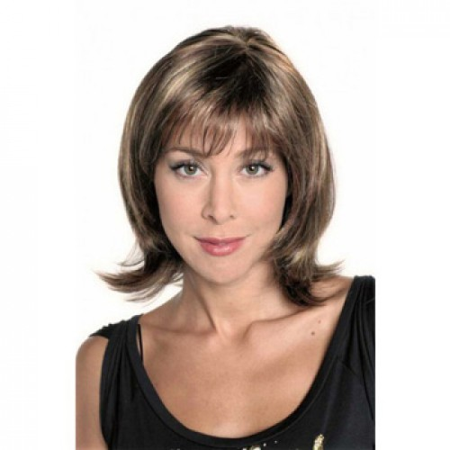 Human Hair Lace Front Wig Wavy Brown Highlight