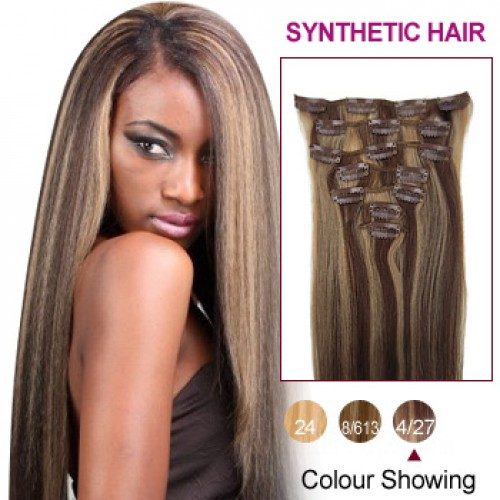 "24"" Brown/Blonde(#4/27) 7pcs Clip In Synthetic Hair Extensions"