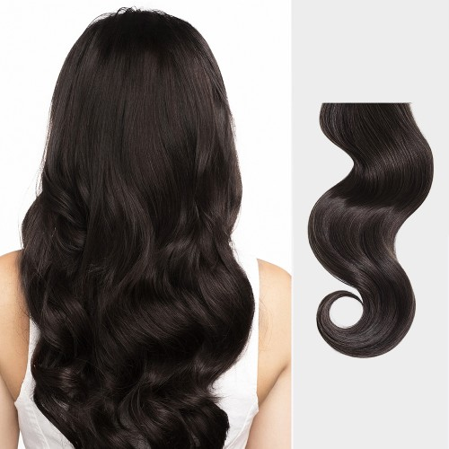 "16"" Dark Brown(#2) 7pcs Clip In Remy Human Hair Extensions"
