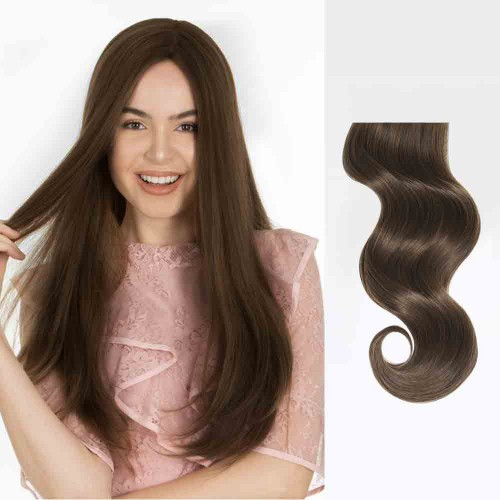 "16"" Medium Brown(#4) 7pcs Clip In Human Hair Extensions"