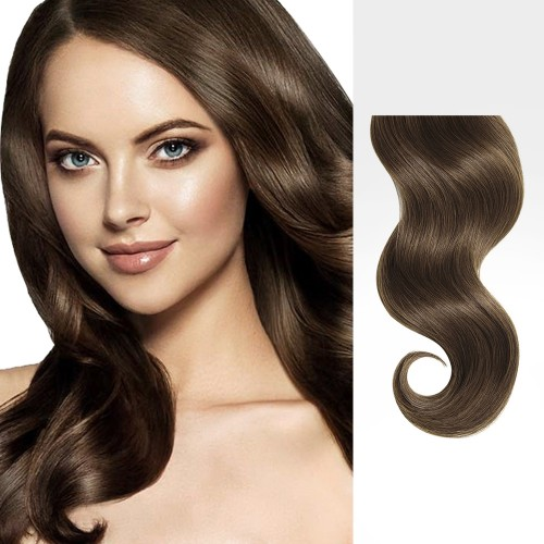 """20"""" Ash Brown(#8) 7pcs Clip In Remy Human Hair Extensions"""