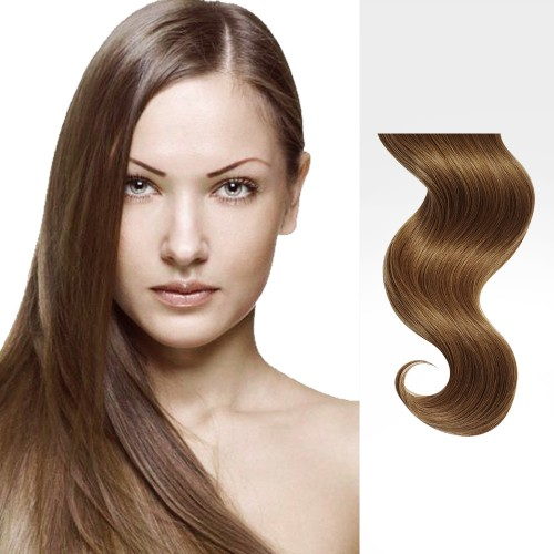 "18"" Golden Brown(#12) 7pcs Clip In Remy Human Hair Extensions"