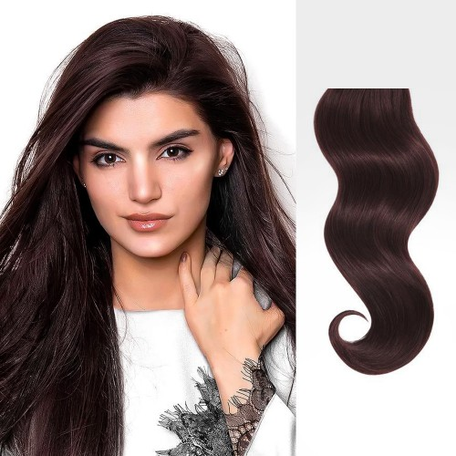 "24"" Dark Auburn(#33) 7pcs Clip In Remy Human Hair Extensions"