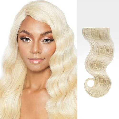 """24"""" Bleach Blonde(#613) 7pcs Clip In Remy Human Hair Extensions"""