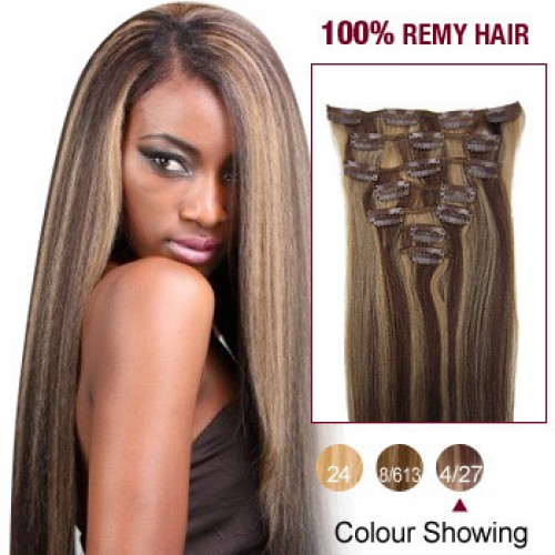 """18"""" Brown/Blonde(#4/27) 7pcs Clip In Human Hair Extensions"""