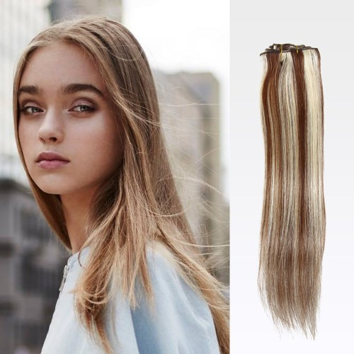 """26"""" #4/613 7pcs Clip In Remy Human Hair Extensions"""