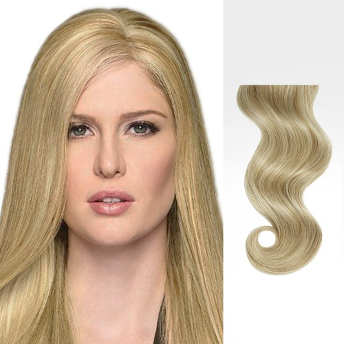 """24"""" Blonde Highlight(#18/613) 7pcs Clip In Human Hair Extensions"""