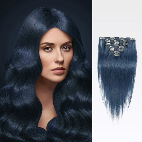 "14"" Blue 7pcs Clip In Human Hair Extensions"