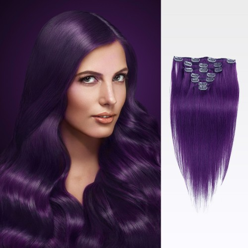 "18"" Lila 7pcs Clip In Remy Human Hair Extensions"