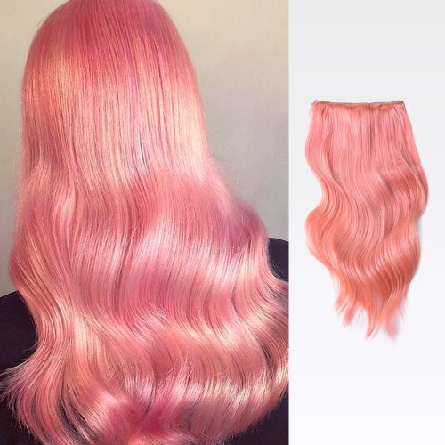 """24"""" Pink 7pcs Clip In Human Hair Extensions"""