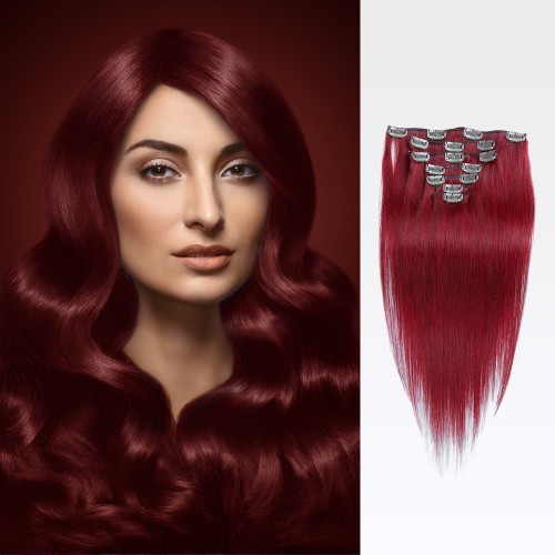 """22"""" Red 7pcs Clip In Remy Human Hair Extensions"""
