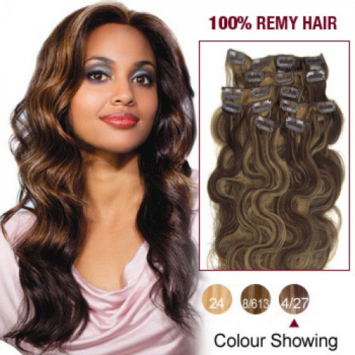"""18"""" Brown/Blonde(#4/27) 7pcs Clip In Remy Human Hair Extensions"""