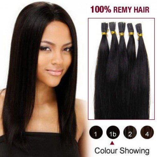 """26"""" Natural Black(#1b) 100S Stick Tip Remy Human Hair Extensions"""