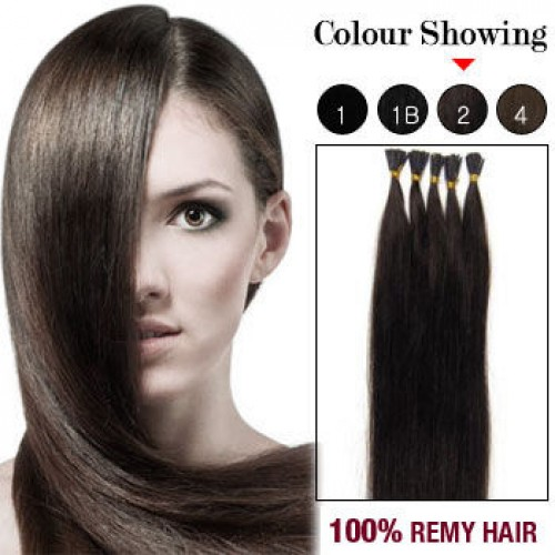 """24"""" Dark Brown(#2) 100S Stick Tip Remy Human Hair Extensions"""