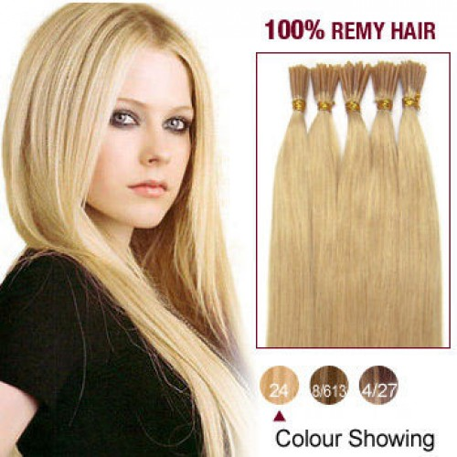 """20"""" Ash Blonde(#24) 100S Stick Tip Remy Human Hair Extensions"""