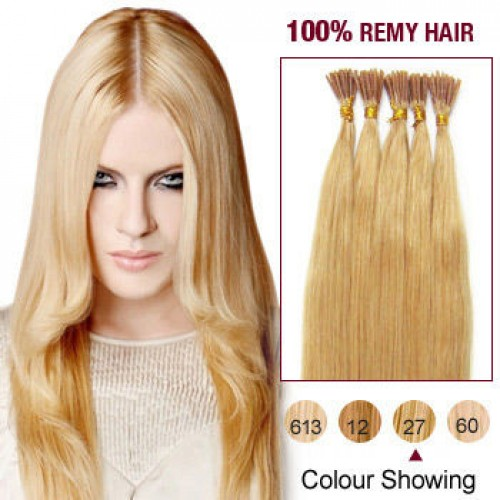 """14"""" Strawberry Blonde(#27) 100S Stick Tip Human Hair Extensions"""