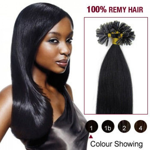 """24"""" Jet Black(#1) 100S Nail Tip Remy Human Hair Extensions"""