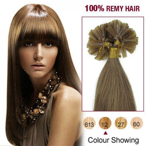 """22"""" Golden Brown(#12) 100S Nail Tip Remy Human Hair Extensions"""