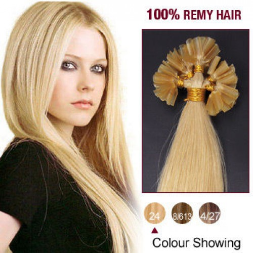 """16"""" Ash Blonde(#24) 100S Nail Tip Remy Human Hair Extensions"""