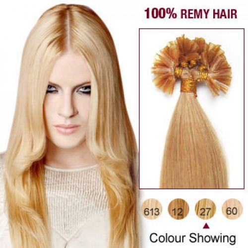 """22"""" Strawberry Blonde(#27) 100S Nail Tip Remy Human Hair Extensions"""