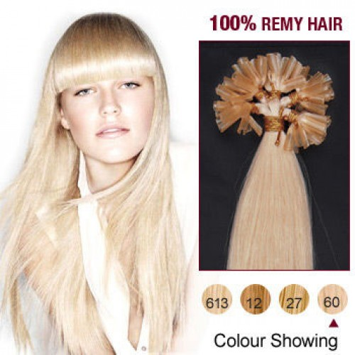 """22"""" White Blonde(#60) 100S Nail Tip Remy Human Hair Extensions"""