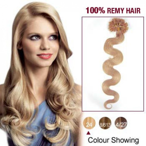 """20"""" Ash Blonde(#24) 100S Wavy Nail Tip Remy Human Hair Extensions"""