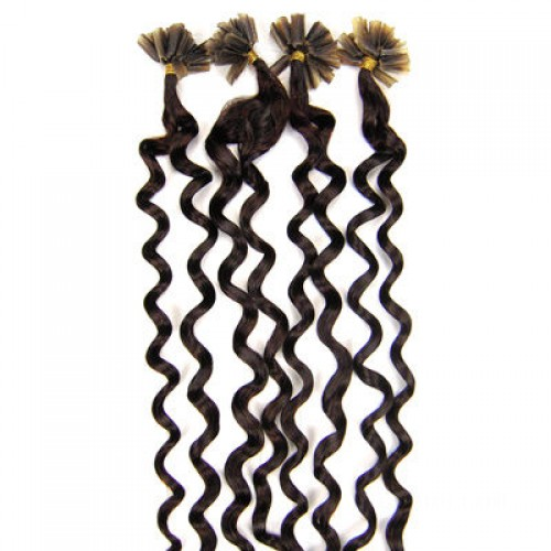 """20"""" Dark Brown(#2) 100S Curly Nail Tip Remy Human Hair Extensions"""