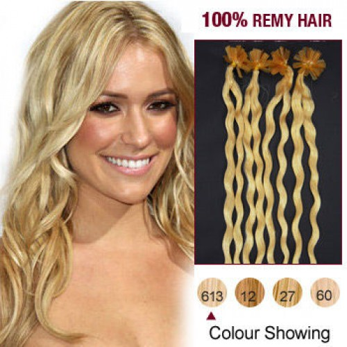 """20"""" Bleach Blonde(#613) 100S Curly Nail Tip Remy Human Hair Extensions"""