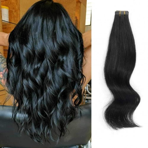 "18"" Jet Black(#1) 20pcs Tape In Human Hair Extensions"